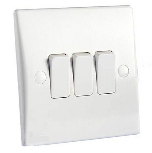 3 Gang 2 Way 10AX Switch GET Schneider GU1032 Ultimate Moulded White Plastic